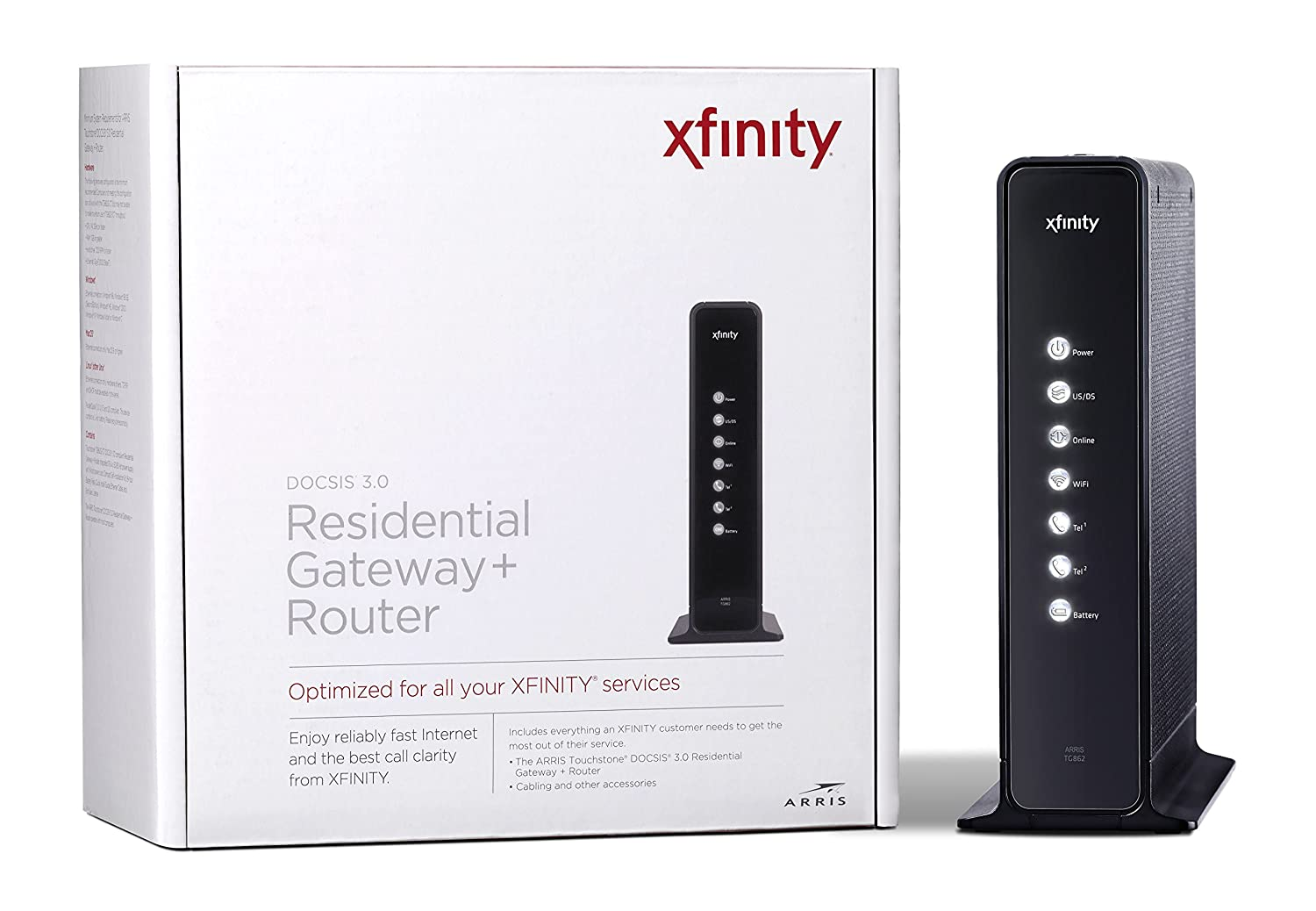 ARRIS DOCSIS 3 0 Residential Gateway with 802 11n/ 4 GigaPort Router/  2-Voice Lines Certified with Comcast (TG862G-CT)