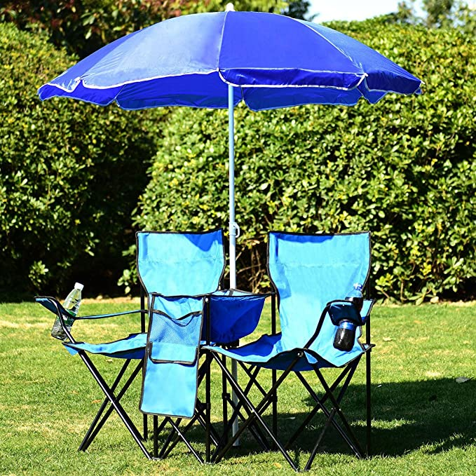 Amazon.com : Muebles Terraza 3 PCS 2 Sillas Y 1 Sobrilla Azul para Patio Playa Picnic Acampa Pescar : Garden & Outdoor