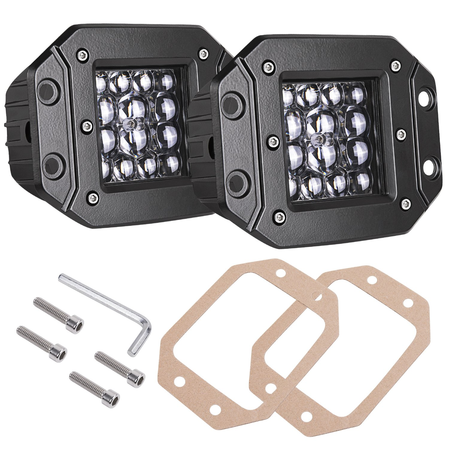 Amazon light bars accent off road lighting automotive quad row led pods akd part 2pcs 84w led flush mount 5 inch spot beam aloadofball Gallery