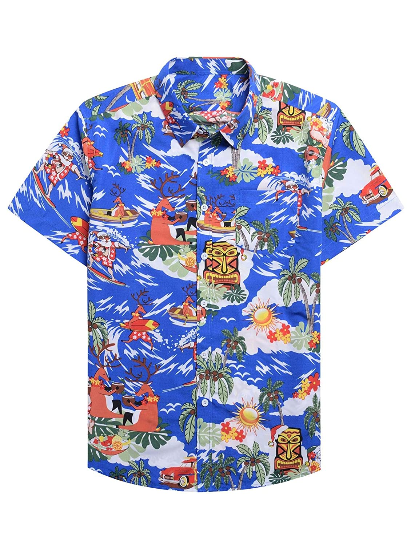 Alimens /& Gentle 100/% Cotton Regular Fit Short Sleeve Casual Hawaiian Shirt for Men