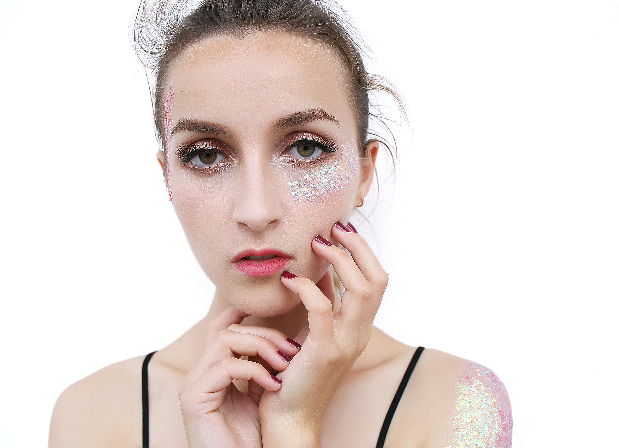 Larruping 6 Colors Irregular Shape Highlight Chunky Glitter Body Glitter Festival Glitter With Cruelty Free Glitter Gel Cosmetic Face Body Hair Nail