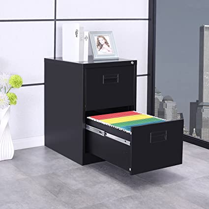 ModernLuxe Metal Lateral File Cabinet with Keys (Black 2-Drawers18W× & Amazon.com : ModernLuxe Metal Lateral File Cabinet with Keys (Black ...
