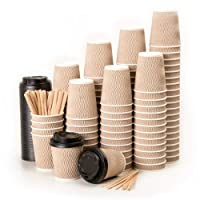 110 Vasos Desechables Ondulación Kraft de Doble Pared de Café Para Llevar - Vasos Carton 240