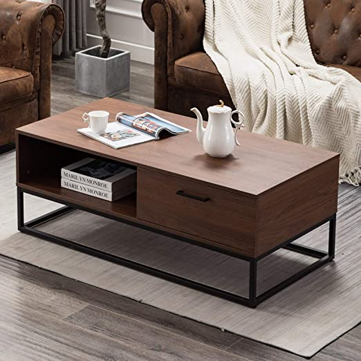 Amazon Com Canmov Mid Century Modern Coffee Table With 1 Drawer