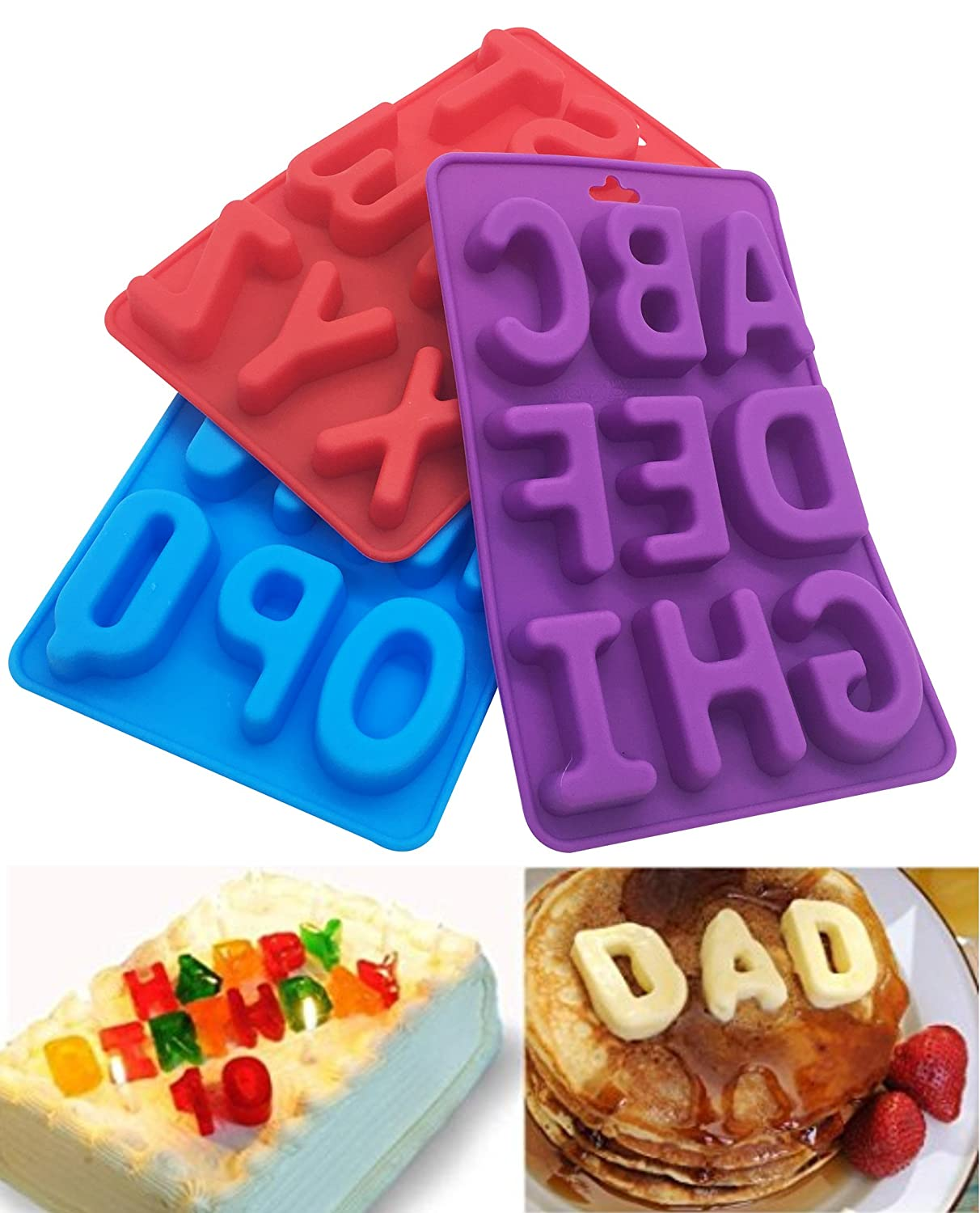3Pcs/Set Of 26 Capital Letters DIY Mold Silicone Handmade Cake Decoration Chocolate Ice Jelly Mould Tray Kootips-1-4001