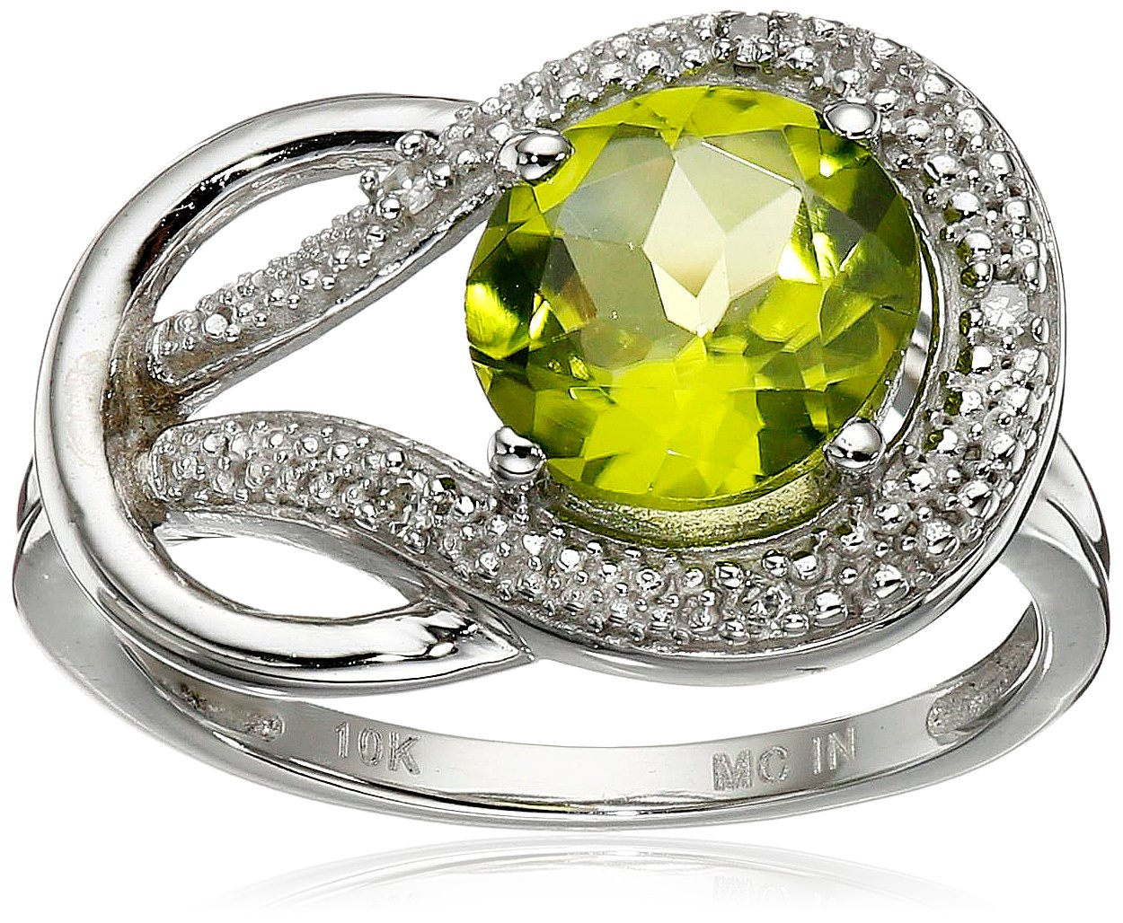 Peridot and Diamond Accent Love Knot Ring in 10k White Gold, Size 8