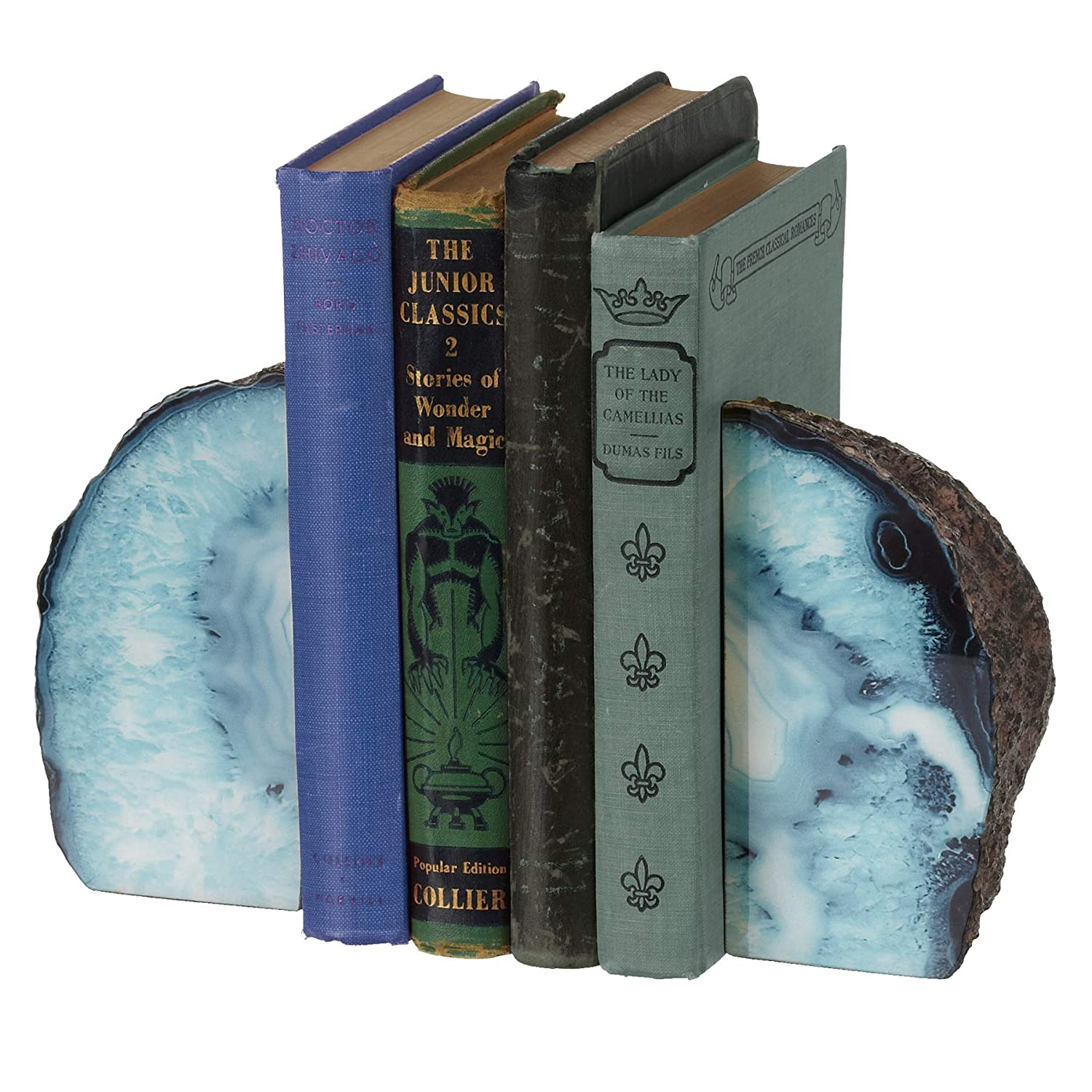 Midwest-CBK Faux Blue Agate Stone Bookend Pair