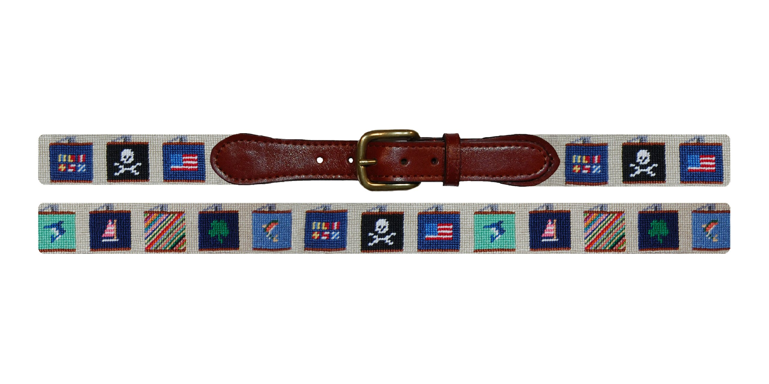 Smathers & Branson Flasks Needlepoint Belt, Natural - 42 (B-208-42)