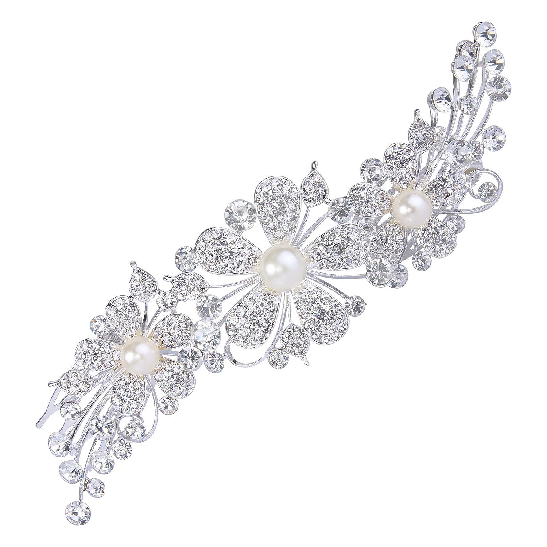 Clearine Damen Boho Stil Hochzeit Braut Kristall Blume Ivory-farbe Künstliche Perlen Bling Haarkamm Haarschmuck 12000480