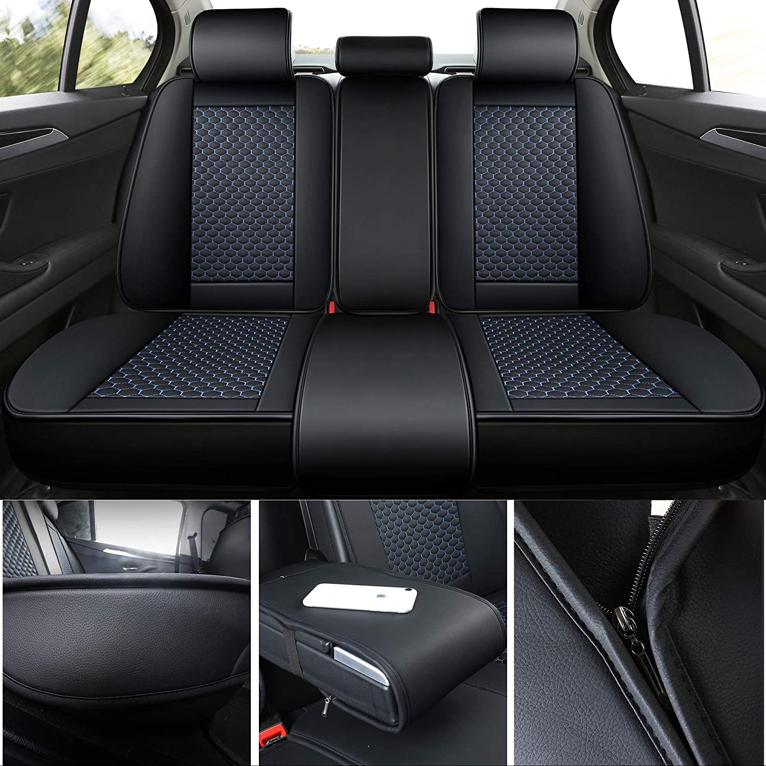 INCH EMPIRE Car Seat Cover 2 Front-Football Liner Half Perforated Synthetic Leather Cushion Fit for Accent Elantra Sonata Tucson Kona EV Liberty Patriot Renegade Compass Grand Cherokee 2 Front Black