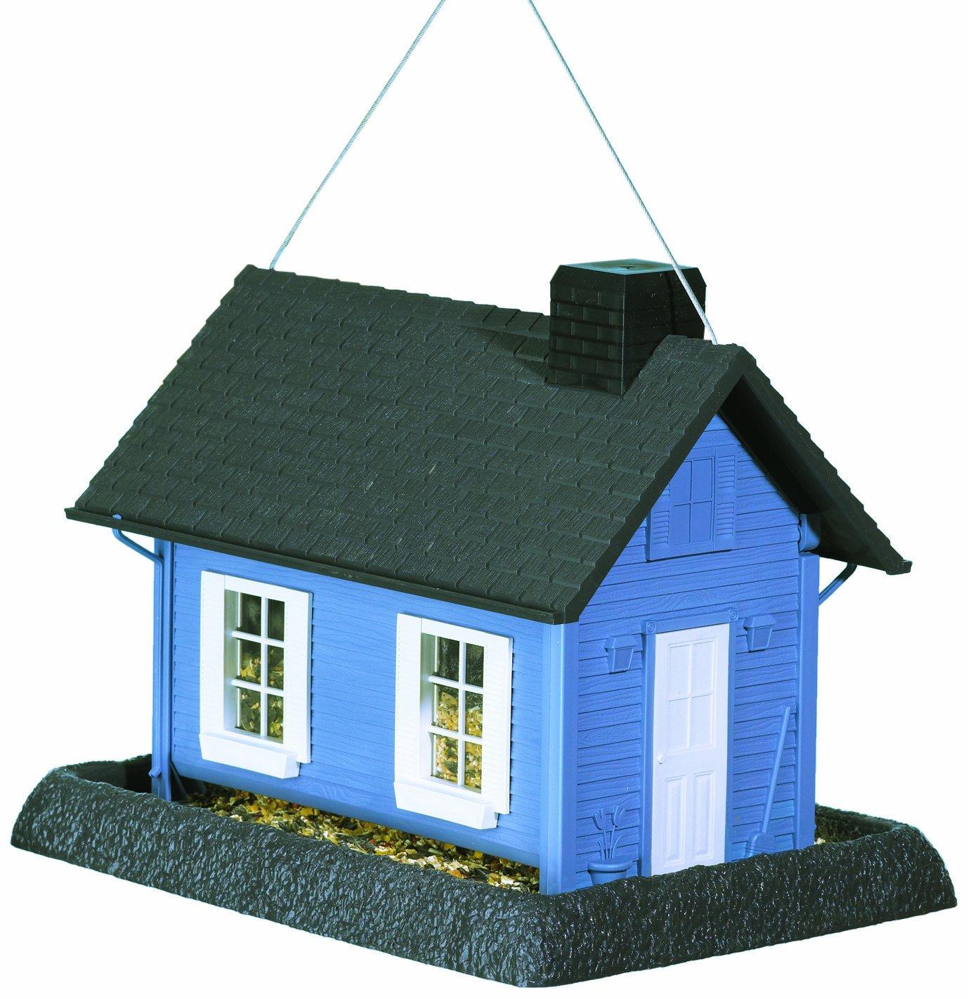 North States Village Collection Grand Style Birdfeeder-Large Blue Cottage, Gray/Blue 9065M