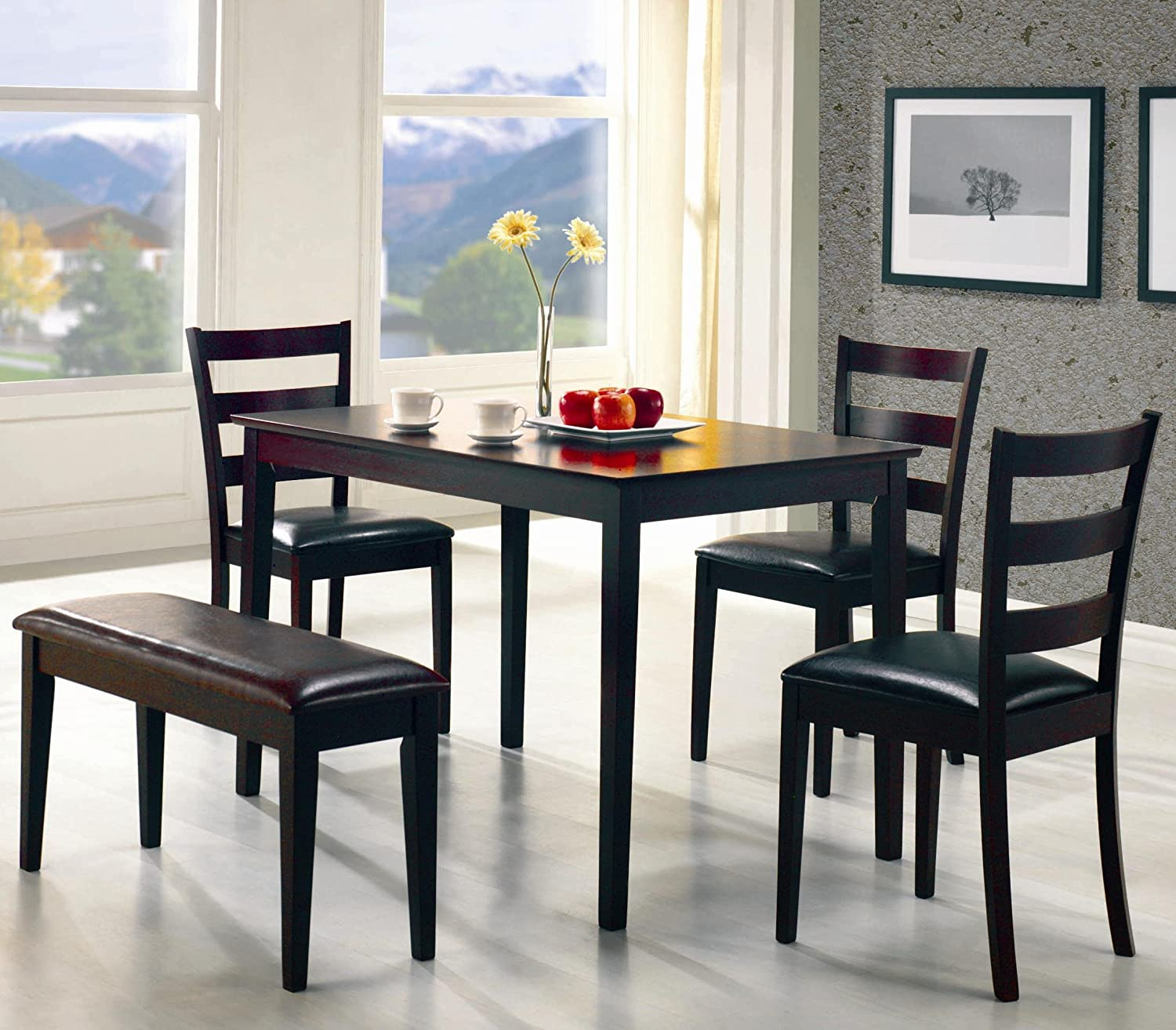 Amazon com coaster 5pc dining table chairs bench set cappuccino finish kitchen dining