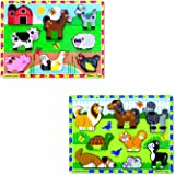 Melissa & Doug Wooden Chunky Puzzles Set - Farm and Pets