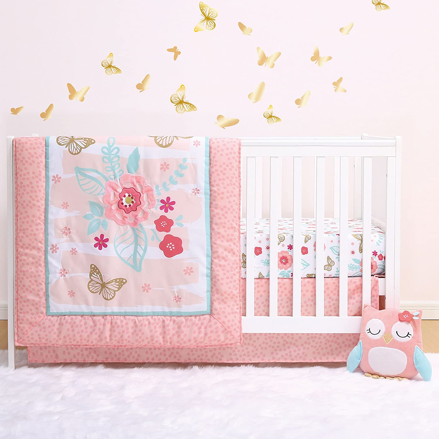 Aflutter 4-Piece Butterfly and Flowers Baby Crib Bedding Set by Little Haven Farallon Brands BS4LHAFL