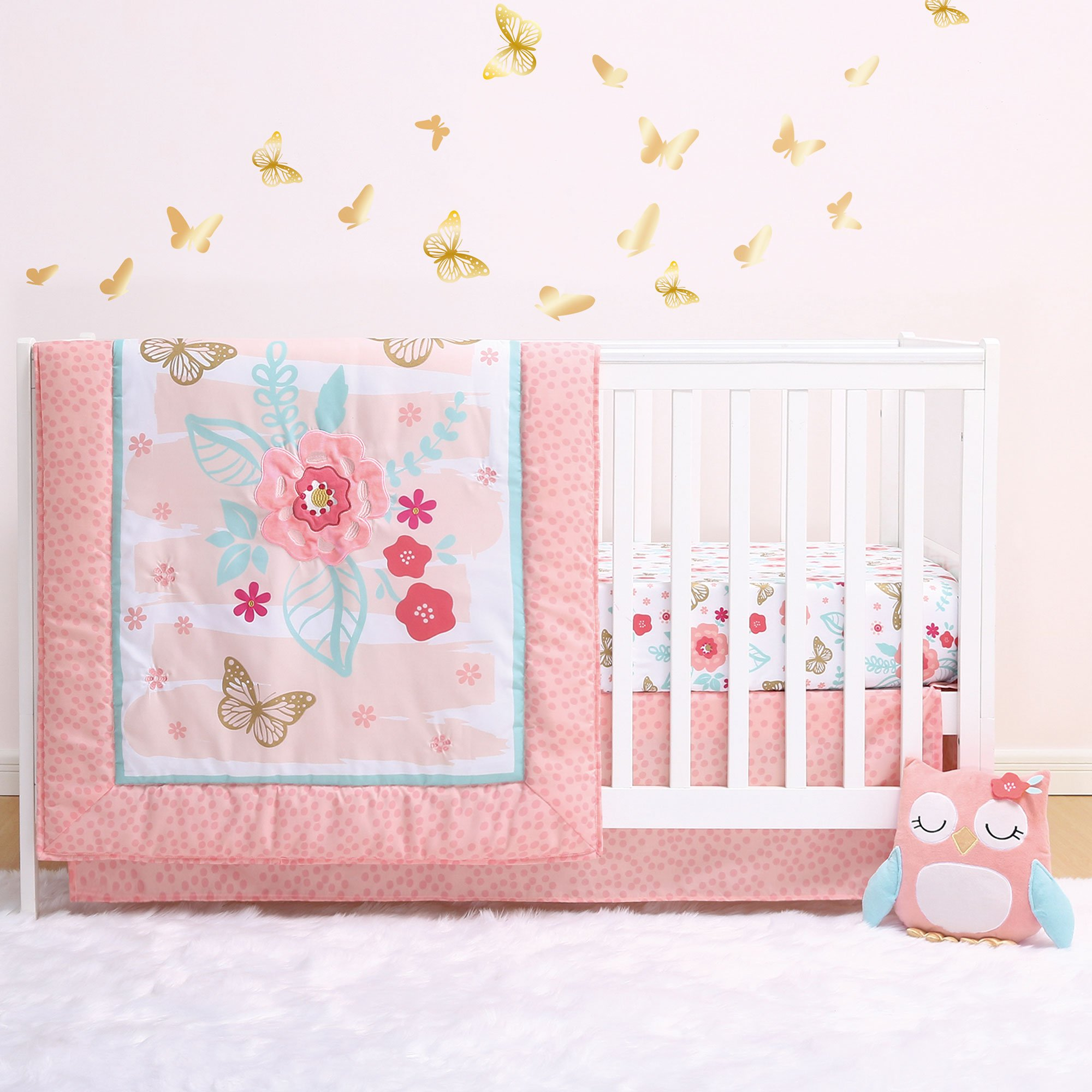 Aflutter 4-Piece Butterfly and Flowers Baby Crib Bedding Set by Little Haven by Little Haven