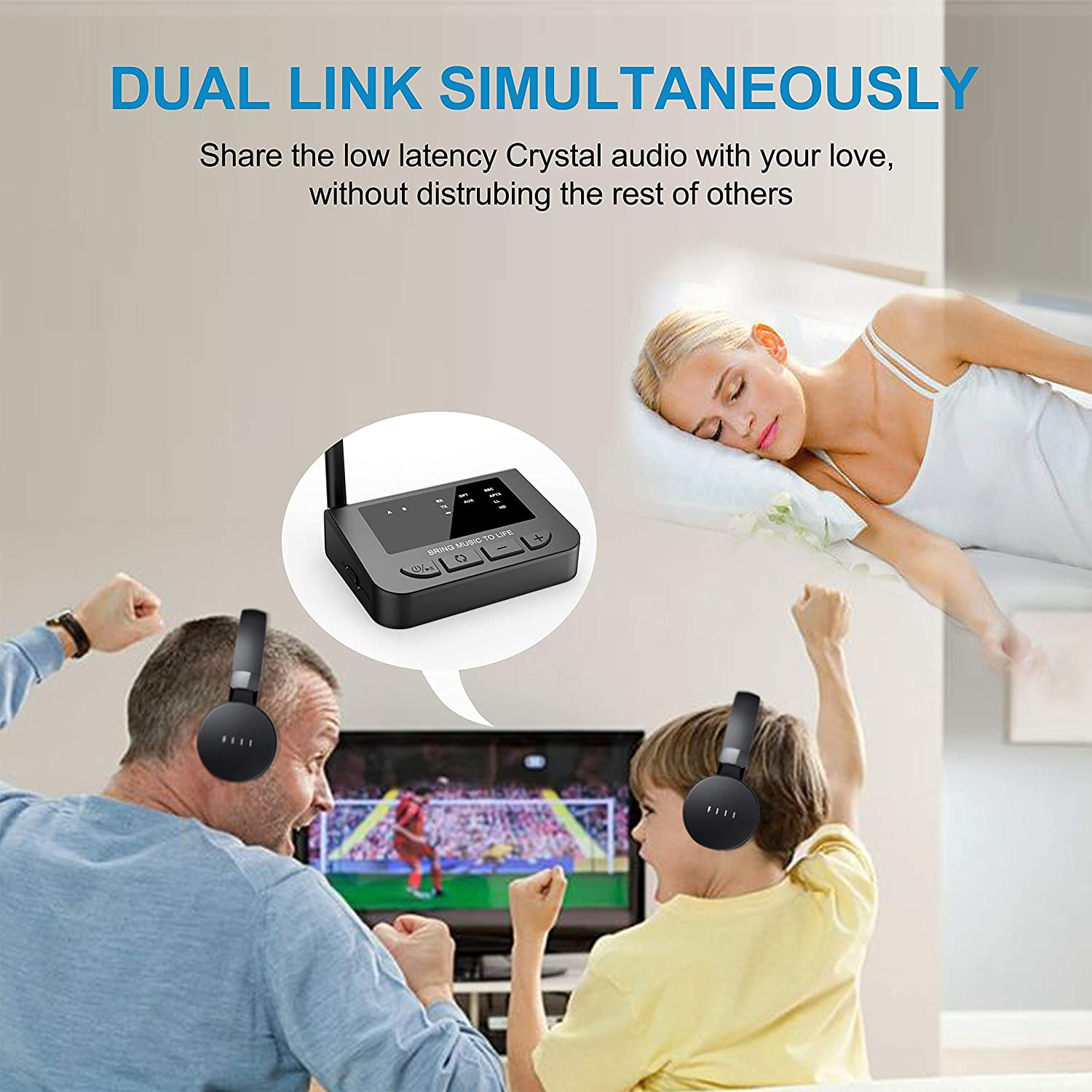 Supports AptX Low Latency//HD Golvery Long Range Bluetooth 5.0 Transmitter Receiver for TV with Audio Pass-Thru Feature Dual Stream Plug /& Play AUX Optical Wireless Adapter for Home Stereo