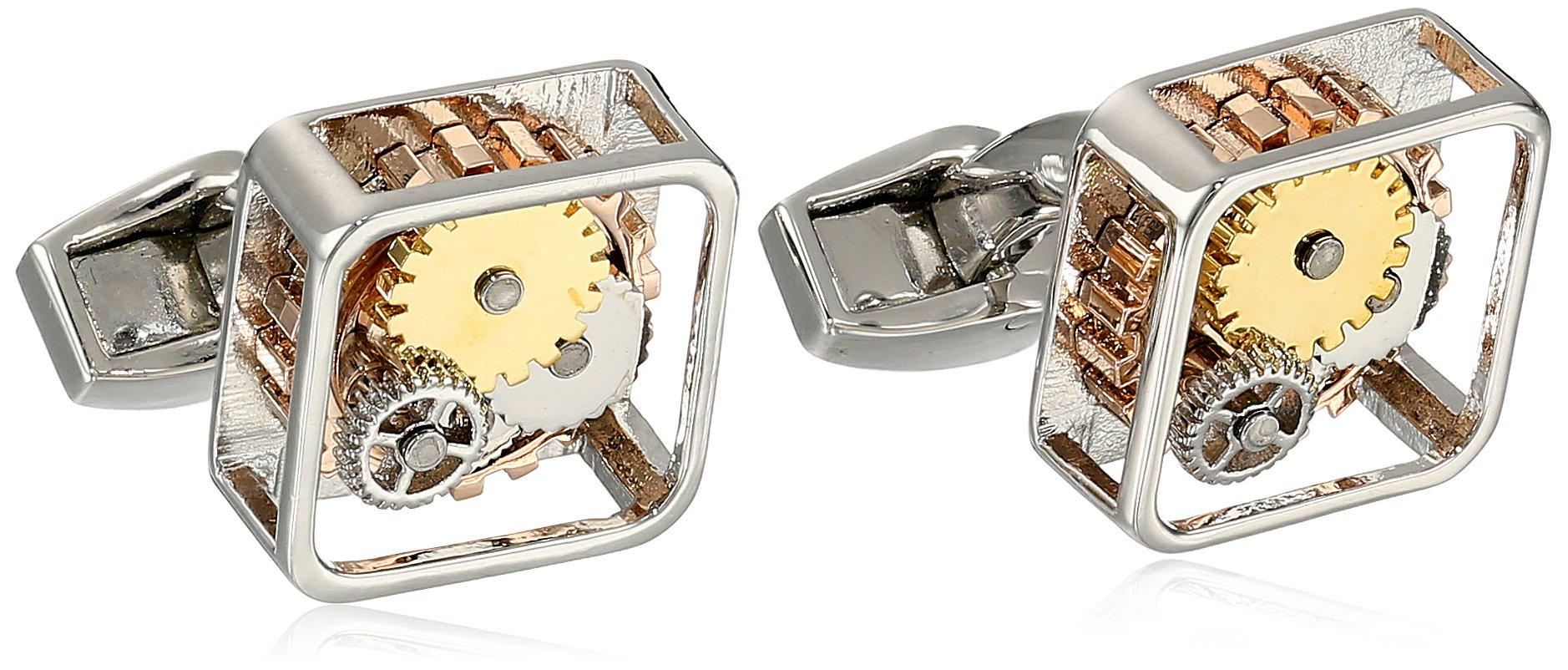 Tateossian Men's ''Mechanical'' Silver Rhodium Plated Gear Square Cufflinks