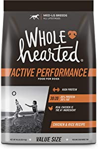 Wholehearted Active Performance High-Protein Chicken & Rice Recipe Dry Dog Food, 45 lbs.