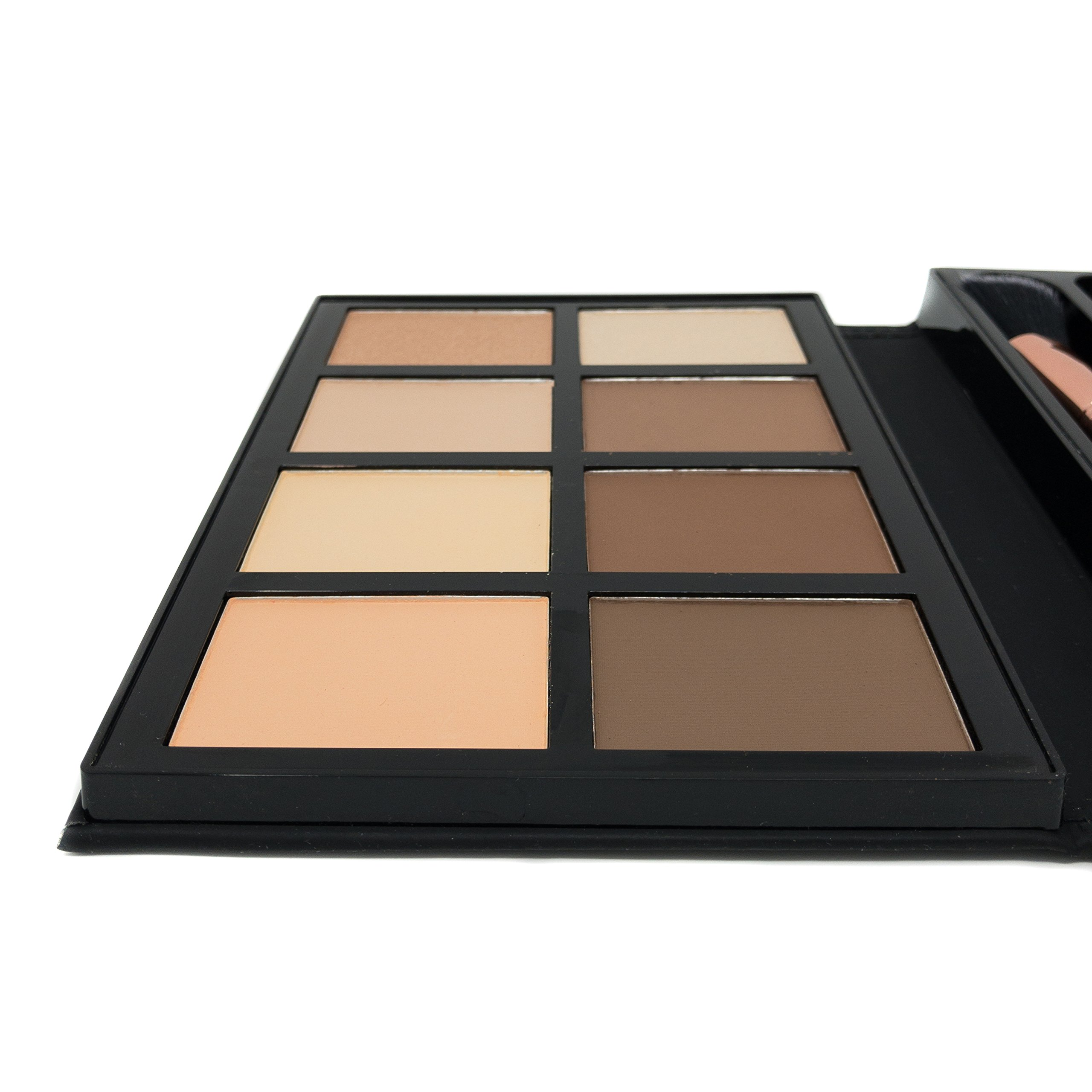 Profusion Cosmetics - Contour - Professional 8 Color Palette - Face Powder Highlighter Bronzer Makeup Kit Brushes Included - Champagne Highlight Nutmeg Ivory Peach Pale Gala Moonstone Java Ebony by Profusion Cosmetics (Image #6)