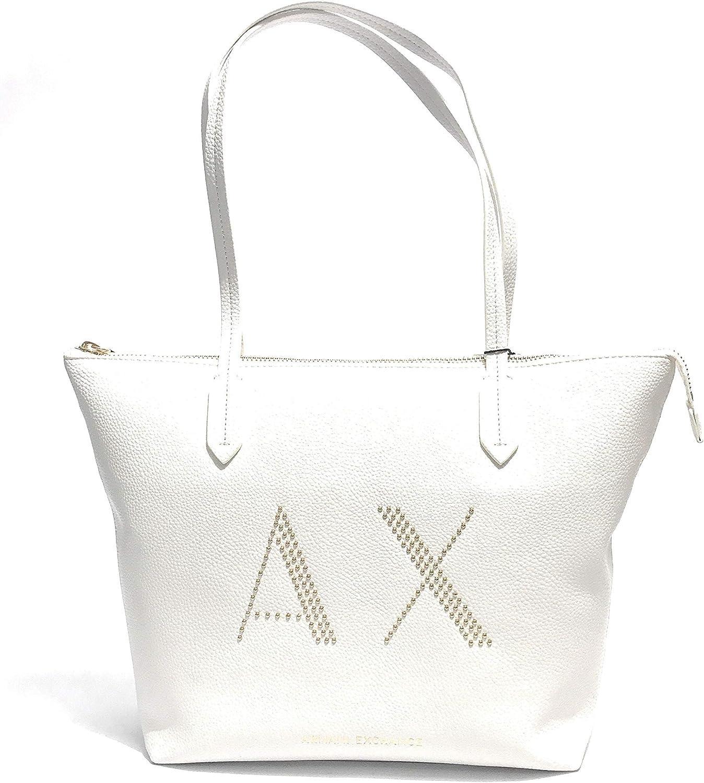 AX Armani Exchange Large Pebbled Eco Leather Studded Logo Shopping Bag