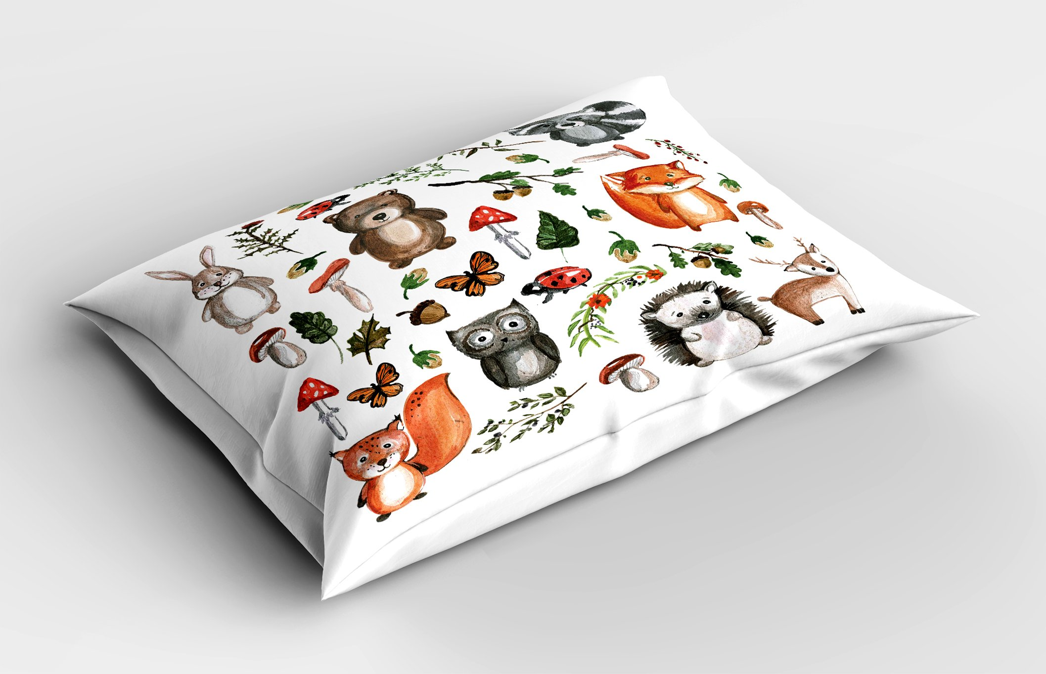 Lunarable Woodland Pillow Sham, Watercolor Hand Drawn Forest Animals Illustration Among Elements of The Woods, Decorative Standard Size Printed Pillowcase, 26 X 20 inches, Multicolor by Lunarable (Image #2)