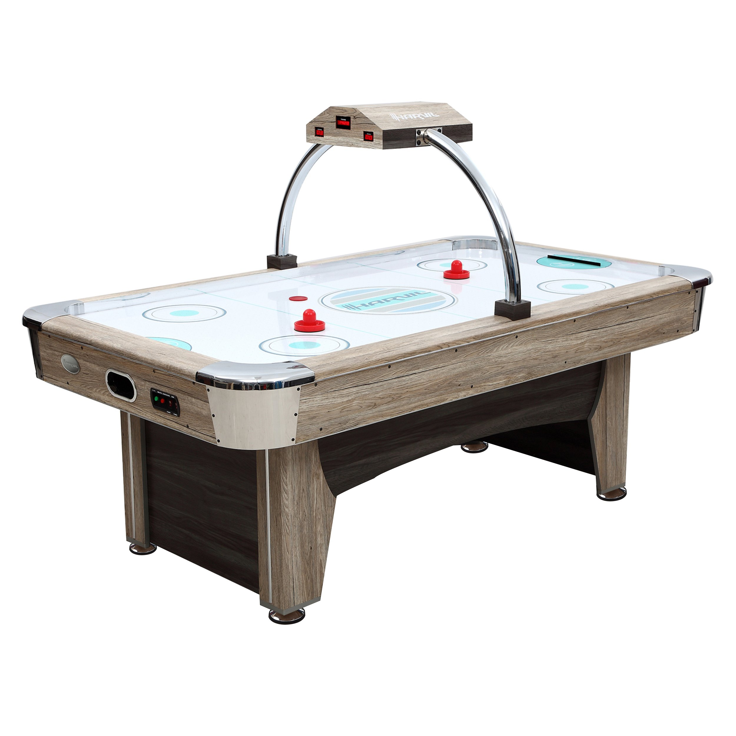 Harvil Beachcomber 7 Feet Air Hockey Table with Overhead Scorer, 2 Powerful Electronic Blowers, and 4 Pucks and 2 Pushers