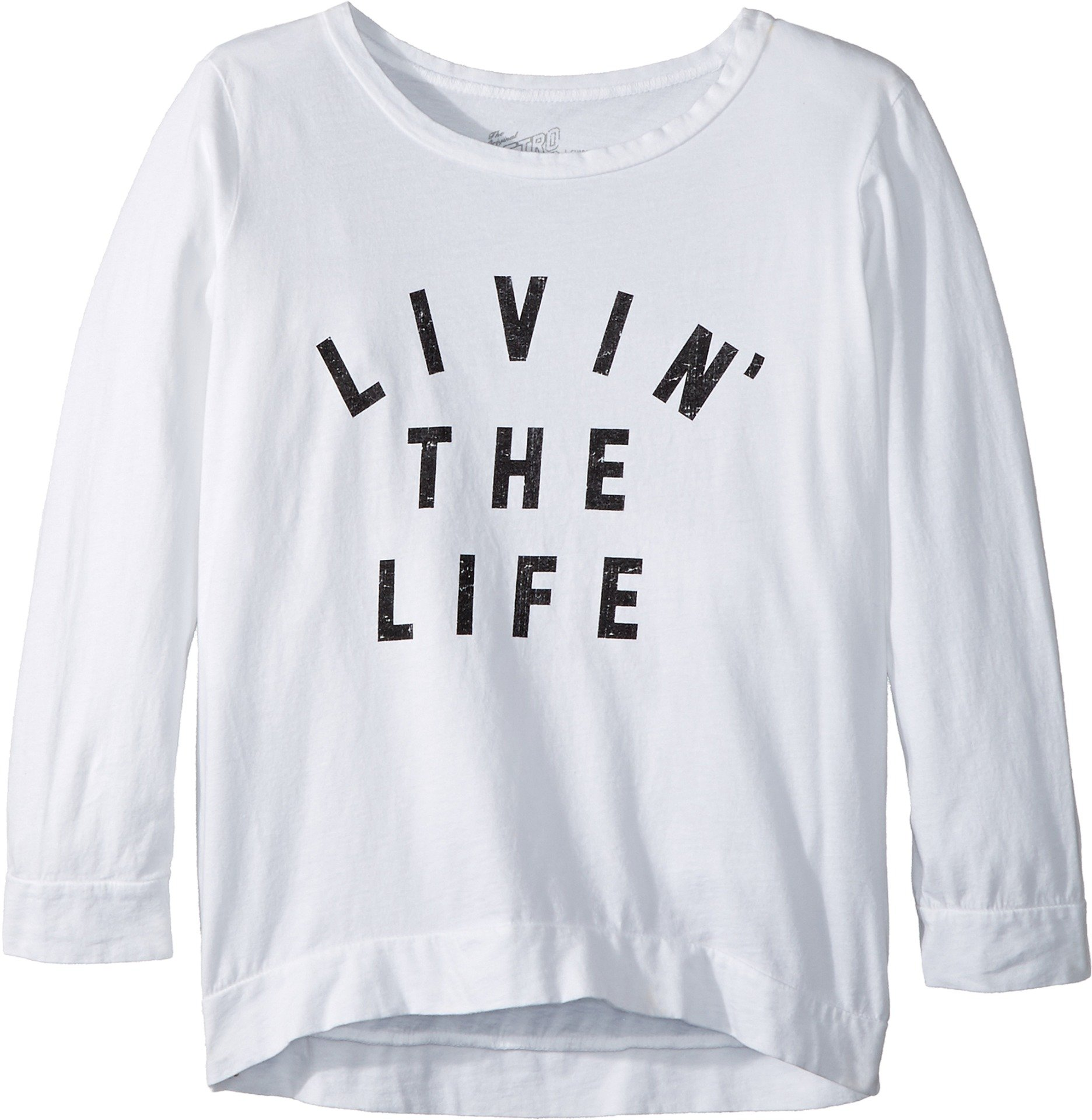 The Original Retro Brand Kids Girl's Livin' The Life 3/4 Pullover (Big Kids) White Medium