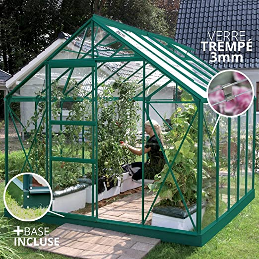 Lams 788697 invernadero merkur 8300 verde + vidrio templado + Base ...