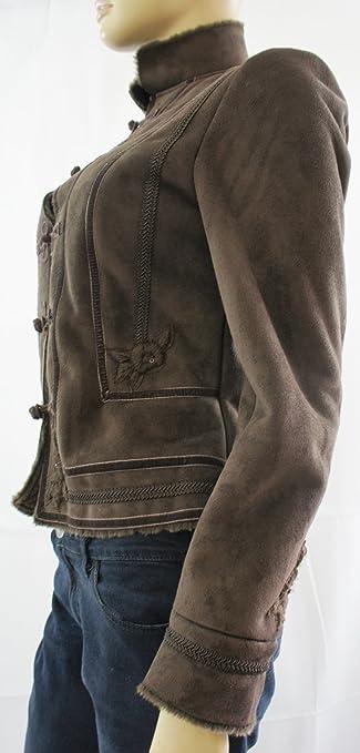 Zara marrón Oscuro Piel sintética de botón Up con Forro ...