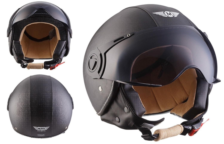 Moto Helmets H44 Bobber Vintage Chopper Demi-Jet Helmet Scooter Chopper Pilot Retro Biker Vespa Moto Mofa Casque Jet Cruiser, Blanc Mat, XL (61-62cm) H44 - matt white - XL