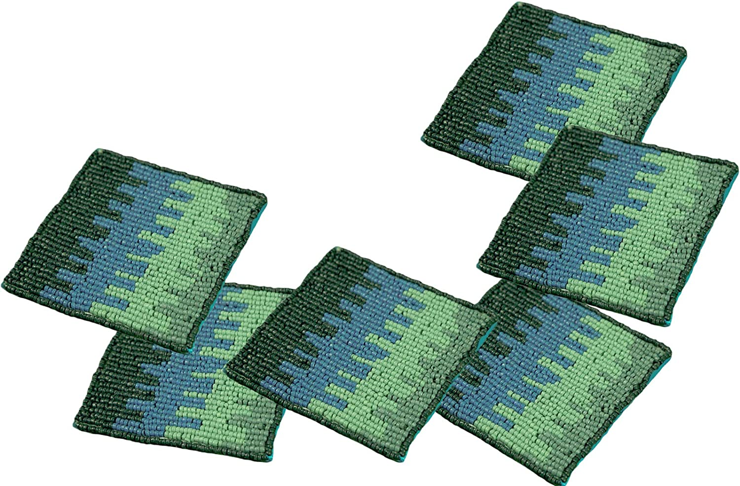 "POPULAR LIFE HOME Bennet Beaded Coasters | Hand Beaded Coasters with Satin Back, Decorative Dining Table Coasters, Blue & Green, 4 x 4"" (Set of 6)"