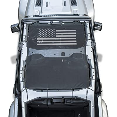 Danti Front Eclipse Sunshade Mesh Sun Shade Top Cover with USA Flag Provides UV Sun Protection for Jeep Wrangler 4 Door JL 2020 2020 2020 Soft Top: Automotive [5Bkhe0117383]