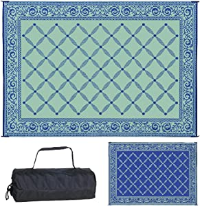 Reversible Mats 119123 Outdoor Patio 9-Feet x 12-Feet, Blue/light-Green RV Camping Mat