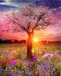 Paint by Numbers Kit for Adults Beginner Tree of Life Landscape Painting - Serene Nature Sunrise DIY Art and Craft for Home Wall Decor | Pre-Printed Quality Canvas, 3 Brushes, 24 Acrylic Paints