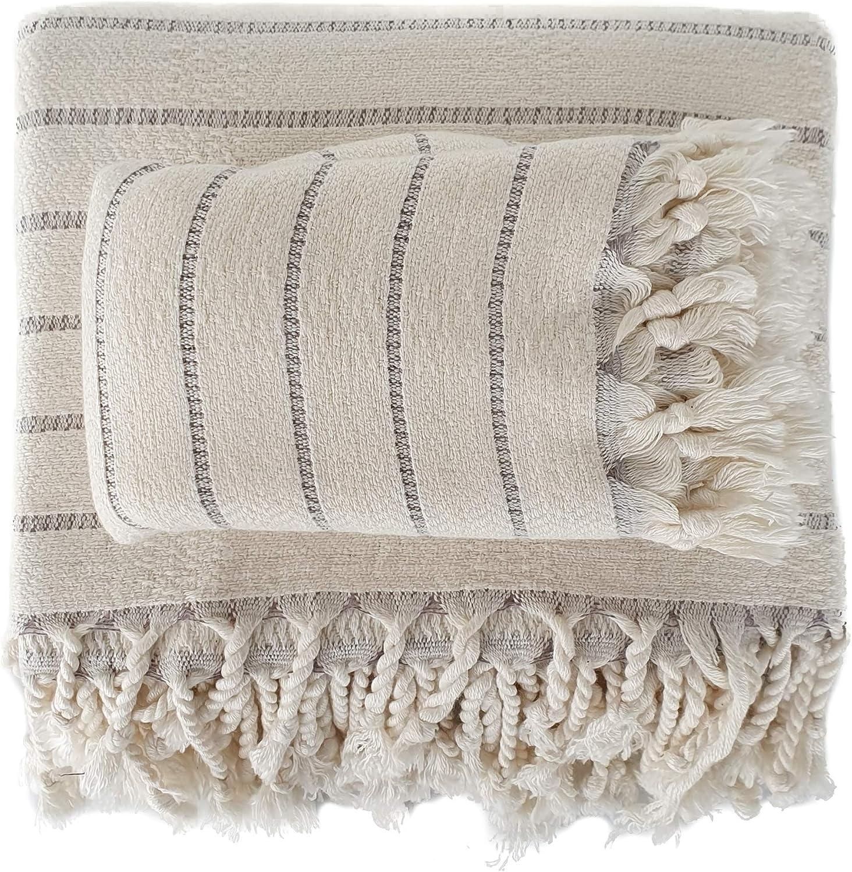 Beige and gray wide stripe Turkish bath towel and hand towel set from The Loomia. #turkishtowels #bathroomdesign #modernrusticstyle #interiordesign