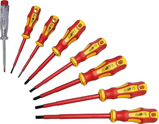 Elektro Schraubendreher Set 8-teilig im Koffer Schraubenzieher Werkzeugkasten