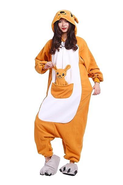 YUWELL Kigurumi Pijamas Anime PyjamasAdulto Cosplay de Halloween Traje Outfit Traje Disfraz, Canguro S (