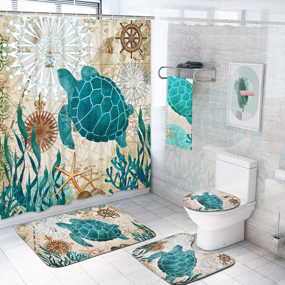 5 Pcs Sea Turtle Shower Curtain Sets with Rugs and Towels, Non-Slip Rug, Toilet Lid Cover and Bath Mat, Sea Turtle Bathroom Set Shower Curtains with 12 Hooks, Turtle Shower Curtains for Bathroom