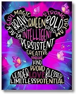 Brooke & Vine African American Black Girl Magic Teen Girl Room Inspirational Posters - Home, Office, Bathroom, Bedroom, Dorm or Cubicle - Black Girl Afro Hair