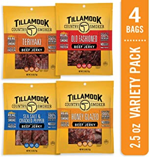 product image for Tillamook Country Smoker All Natural, Real Hardwood Smoked Old Fashioned Beef Jerky, 10 Ounce Bag, Variety Pack