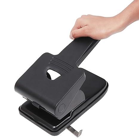 Perforadora de 2 Agujero - Perforadora Resistente Puede Perforar 65 Hojas - Mango Largo (Negro