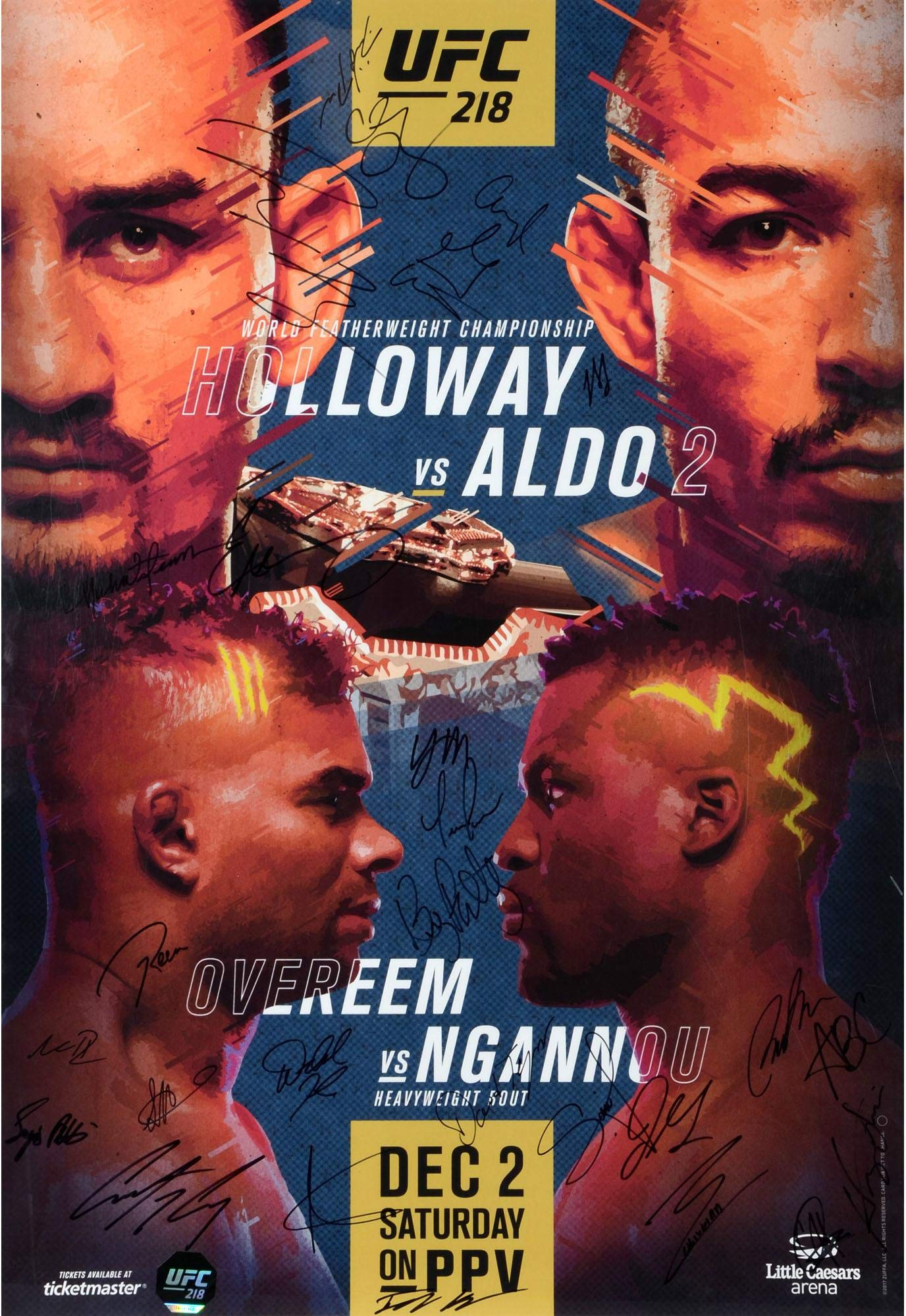 "UFC 218 Holloway vs. Aldo II Autographed 27"" x 39"" 26 Signature Fight Poster Fanatics Authentic Certified"