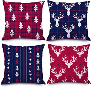 QoGoer Christmas Decorations Throw Pillow Covers 18 x 18 Inch Set of 4, Red Blue Buffalo Plaids Christmas Tree Pillow Cases Cotton Linen Cushion Covers for Farmhouse, Xmas Home Decor, Bed and Couch