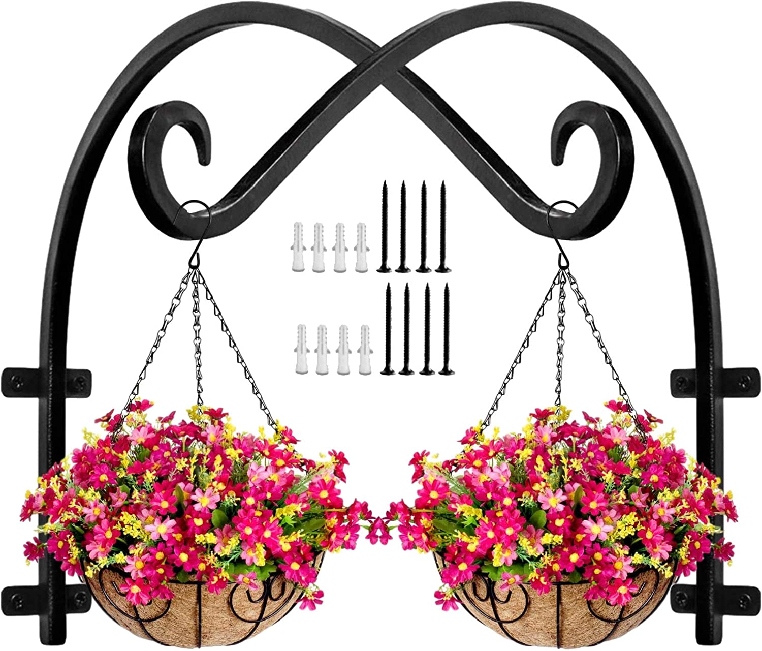 SZLJDKG 2 PCS Outdoor Plant Hooks Equipped with 4 Fixed Buckles (12 Inches) Hanging Basket Iron Bracket Wall Decorative Hooks for Flower Baskets, Wind Chimes, Bird Feeders, Flower Grooves