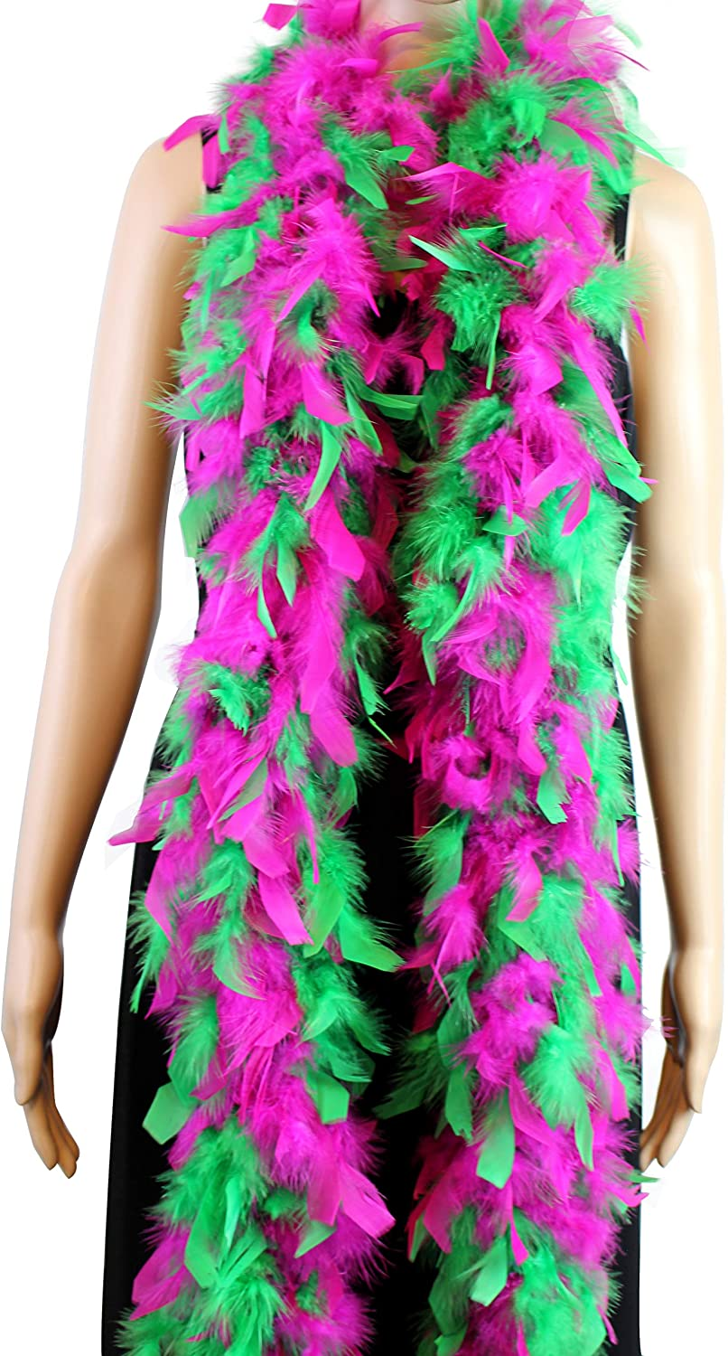 Hot pink//Green 60 Gram Chandelle Feather Boa 2 Yard Long-Great for PartyWedding