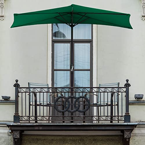 Pure Garden 50-LG1036 Half Round Patio Umbrella with Easy Crank, 9 ft, Hunter Green