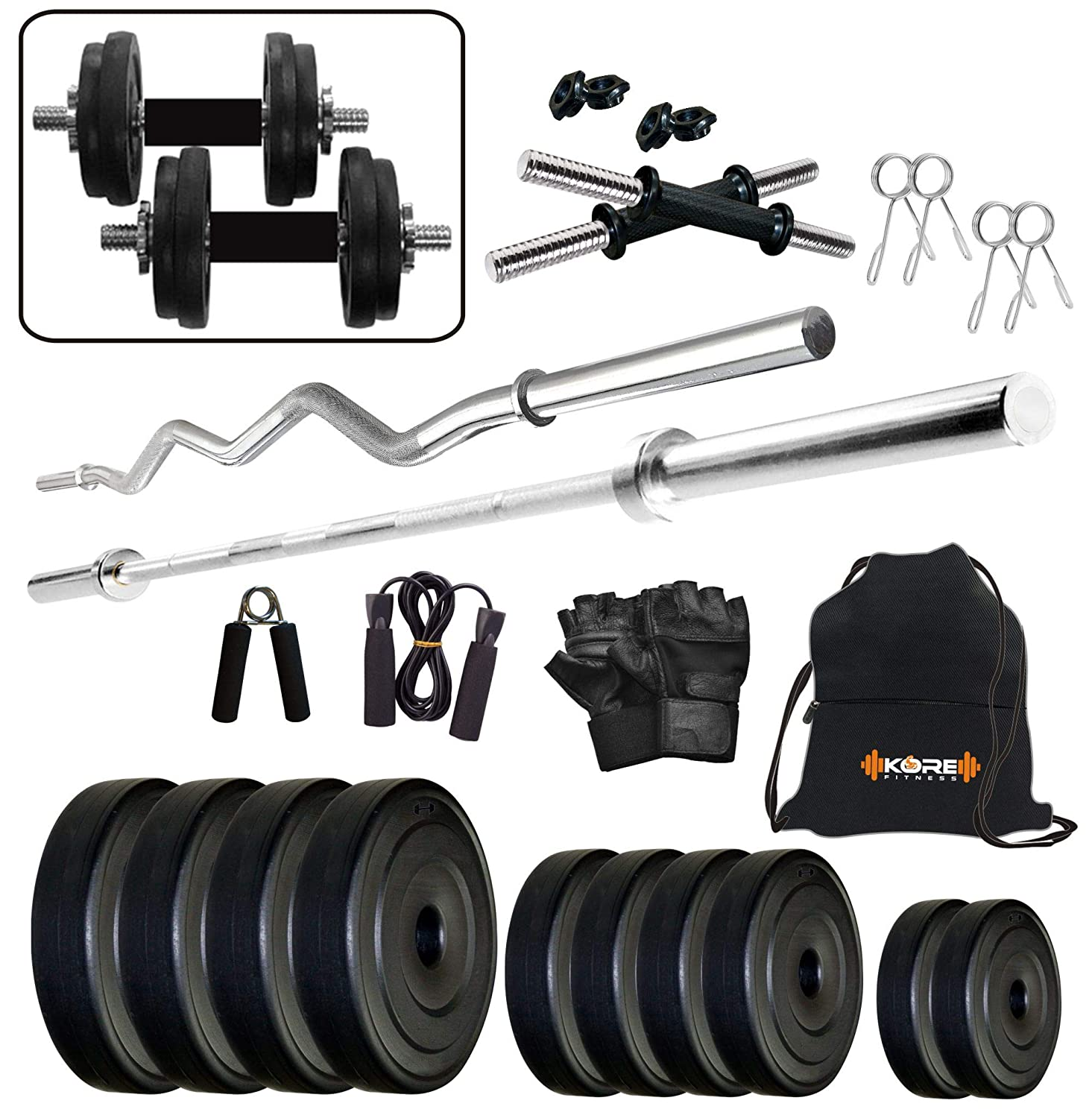 Kore PVC 30 Kg Home Gym Set with One 3 Ft Curl + One 5 Ft