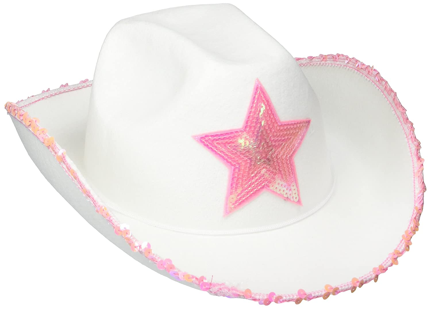 Rhode Island Novelty HACOWWP White Felt Cowgirl Hat with Pink Star RN HACOWWP-1ea