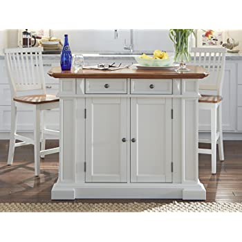 home styles 5002 948 kitchen island and stools white and distressed oak finish - Kitchen Island With Stools