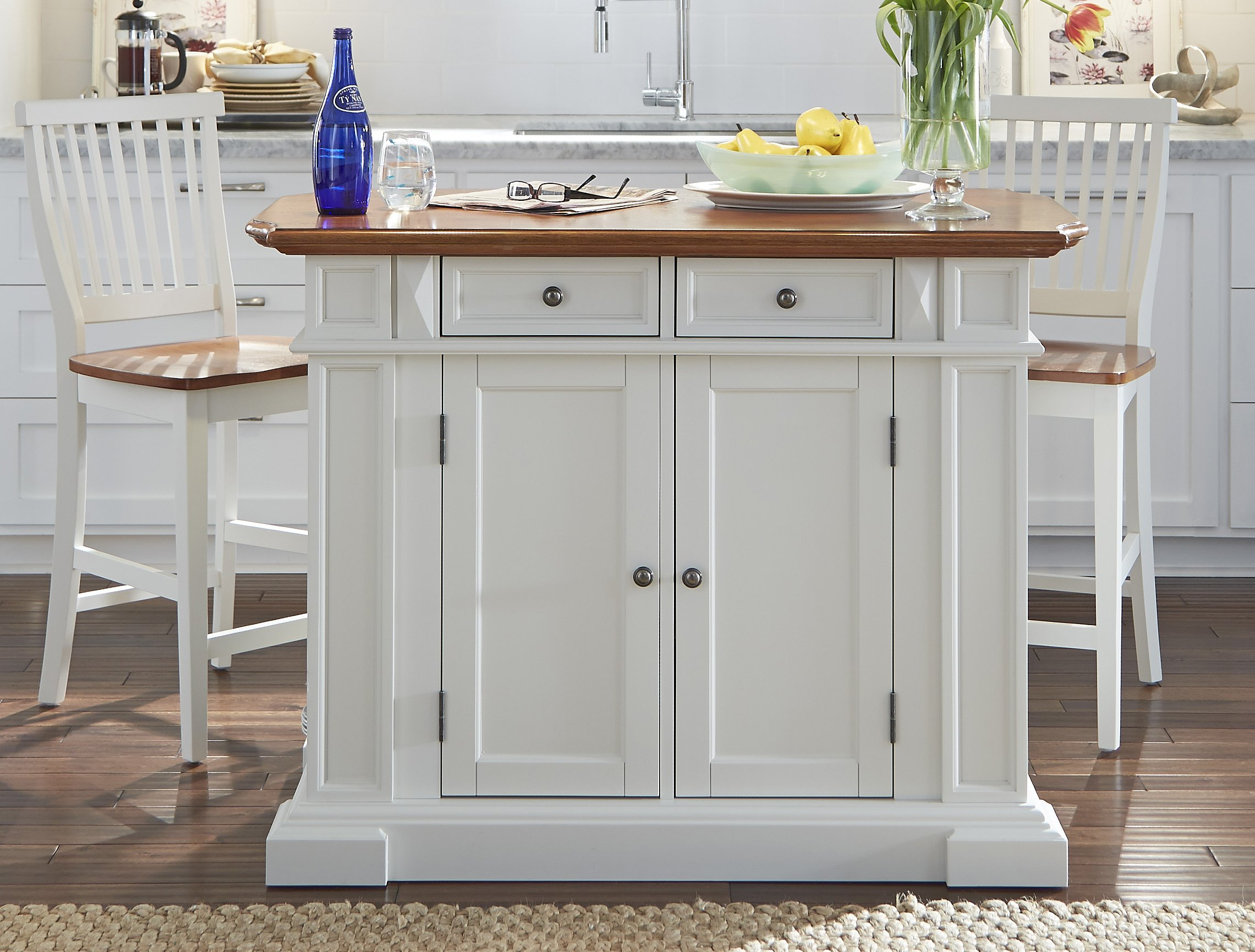Home Styles  Kitchen Island and Stools, White and Distressed Oak Finish
